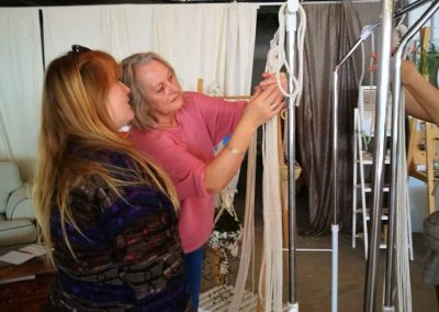 Fran teaching macrame workshop